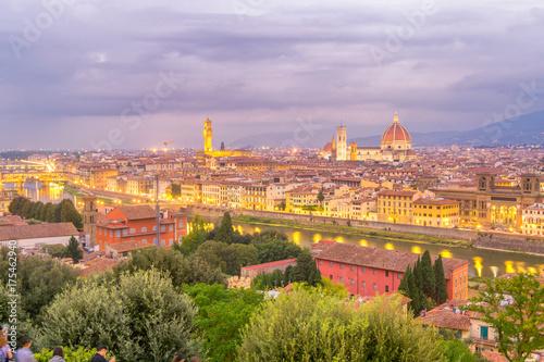Obraz na dibondzie (fotoboard) Wieczór widok Florencja, Włochy