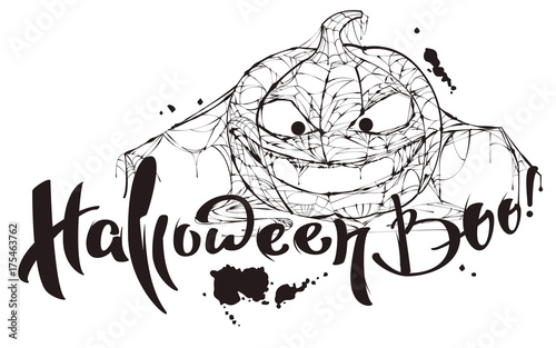 Fotografia, Obraz Halloween boo text. Pumpkin spider web silhouette makes boo