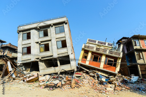 Aftermath of Nepal earthquake 2015, collapsed buildings in Kathmandu Fototapet