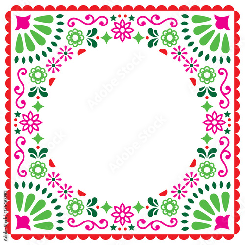 Fotografija  Folk vector greeting card, Mexican style wedding or party invitation, floral pin