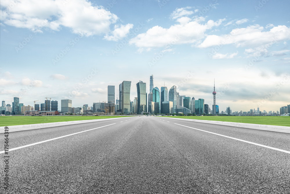 Fototapety, obrazy: modern asphalt road through modern city skyline in shanghai