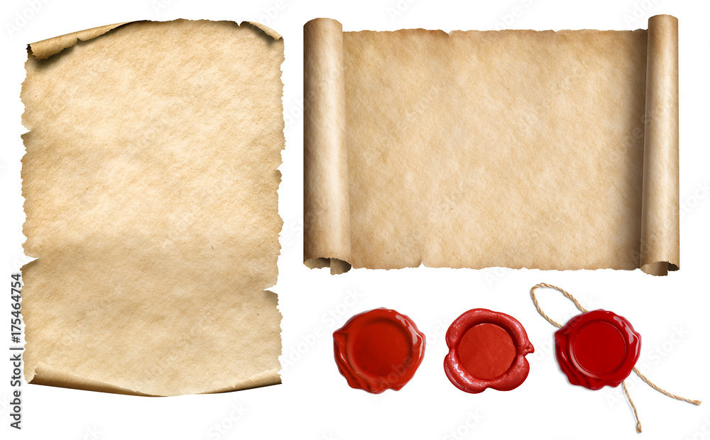 Fototapety, obrazy: Vintage letter scroll or papyrus with wax seal stamps set isolated 3d illustration