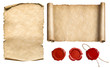 canvas print picture Vintage letter scroll or papyrus with wax seal stamps set isolated 3d illustration