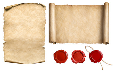 Fototapeta Vintage letter scroll or papyrus with wax seal stamps set isolated 3d illustration