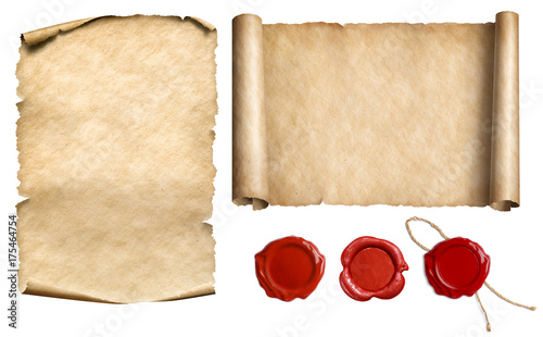 Fotografía  Vintage letter scroll or papyrus with wax seal stamps set isolated 3d illustrati