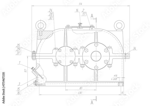 Machine Building Drawings On A White Background