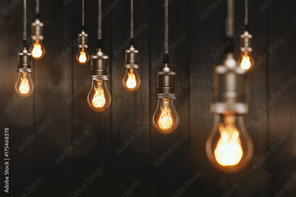 Fototapety, obrazy: Edison Glühbirnen vor einer Holzwand