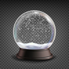 Snow Globe Realistic Vector.Realisitc 3d Snow Globe Toy. Winter Xmas Design Element. Isolated On Transparent Background Illustration
