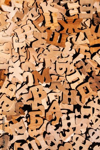 Fotografie, Obraz  Pile of wooden cyrillic letters alphabet
