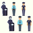 Vector - Policeman, policewoman, Special Forces soldier Cute happy police man and woman agents working in uniform Vector officer in flat style