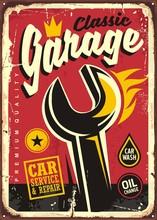 Classic Garage Decorative Print Template.
