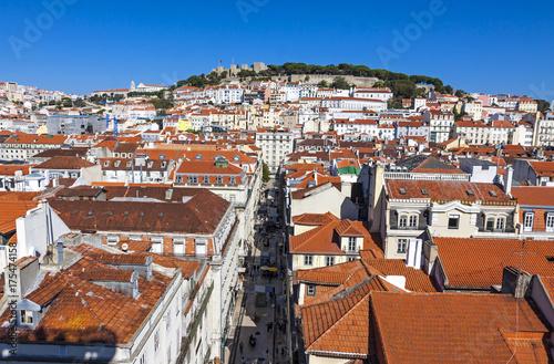 Plakat Widok z lotu ptaka Lisbon stary miasteczko, Portugalia