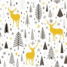 Seamless Christmas Pattern With Deers, Snowflakes And Spruce