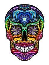 Tattoo Colorful Skull, Black And White Illustration On White Background, Day Of The Dead Symbol.