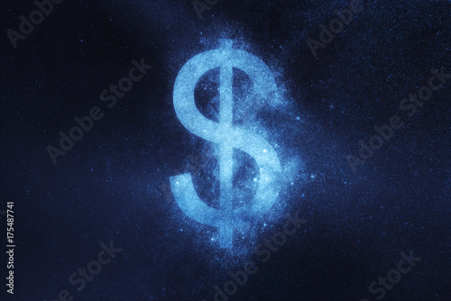 Obraz na plátně  Dollar sign, Dollar Symbol. Abstract night sky background