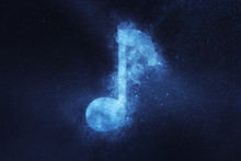 Music Note Sign, Music Note Symbol. Abstract Night Sky Background