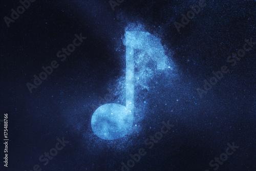 Fototapeta Znak Uwaga muzyki, symbol Uwaga muzyki. Noc streszczenie tło nieba