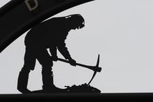 Coal Miner Statue In New Waterford, Cape Breton Island, Nova Scotia, Canada