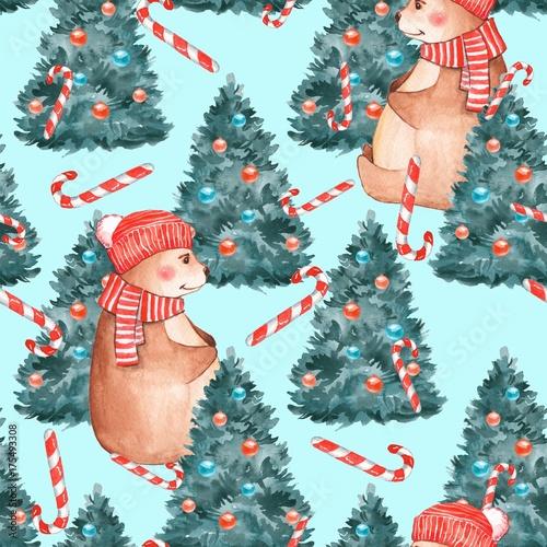Stoffe zum Nähen Weihnachten-Muster. Aquarell Musterdesign mit Teddybär und Tanne