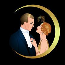 Beautiful Couple In Art Deco S...