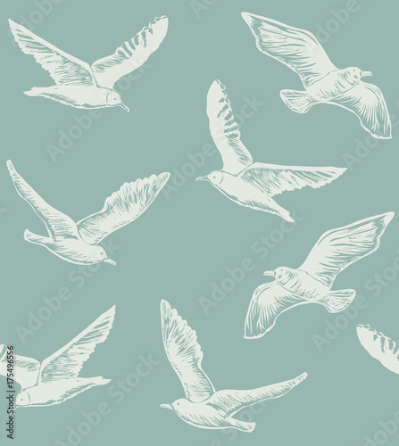 Cotton fabric Seamless Pattern with Seagulls. Graphic Hand Drawn Background for Banners Web pages Scrap booking Paper Wallpaper. Vector Illustration with Flying Birds