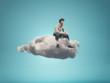 Leinwandbild Motiv Surreal  image of a man sitting on a gray cloud