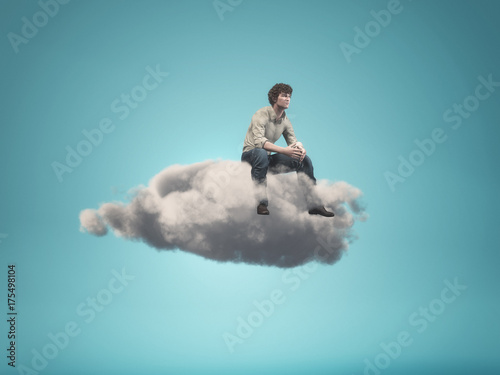 Surreal image of a man sitting on a gray cloud