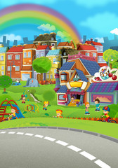 cartoon scene of a city stage for different usage - illustration for children