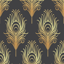 Art Deco Style Geometric Seamless Pattern In Black And Gold. Vector Illustration. Roaring 1920's Design. Jazz Era Inspired . 20's. Vintage Fabric, Textile, Wrapping Paper, Wallpaper.