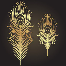 Set Of Two Isolated Feathers. Retro Hand Drawn Vector Illustration. Art Deco Style. Vector. Roaring 1920's Design. Jazz Era Inspired . 20's. Vintage Temporary Tattoo Design