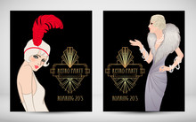 Art Deco Vintage Invitation Template Design With Illustration Of Flapper Girl. Patterns And Frames. Retro Party Background Set (1920's Style). Vector For Event, Wedding Or Jazz Party.