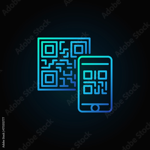 Valokuva  Mobile phone scanning QR code vector blue linear concept icon on