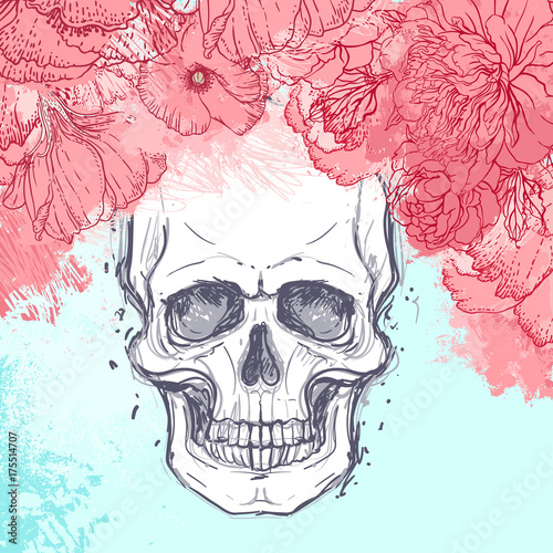 Printed kitchen splashbacks Watercolor skull Human skull with peony, rose and poppy flowers on watercolor background.Tattoo design element. Vector illustration.
