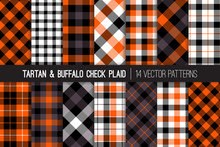 Halloween Tartan And Buffalo Check Plaid Seamless Vector Patterns. Orange, Black, Gray And White Flannel Shirt Fabric Textures. Fall Fashion. Thanksgiving Day Background. Tile Swatches Included.