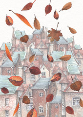 FototapetaA watercolor illustration of falling leaves in an old town. The town stands on a hill with European brick houses, tile roofs and wooden doors.