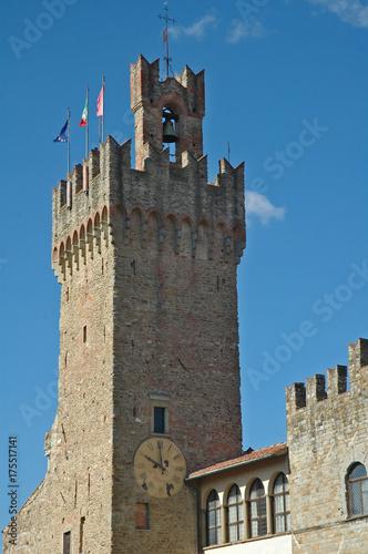 Deurstickers Toscane Arezzo, la torre del Palazzo Comunale