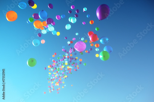 Colorful Balloons flying in the sky party Fototapeta