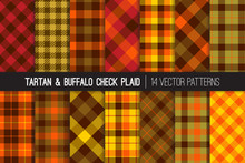 Fall Foliage Colors Tartan And Buffalo Check Plaid Vector Patterns. Brown, Red, Orange & Green Flannel Shirt Fabric Textures. Fall Fashion. Thanksgiving Day Background. Pattern Tile Swatches Included