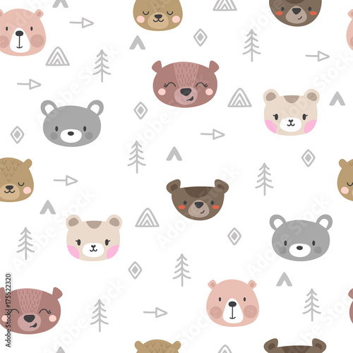 Tribal seamless pattern with cartoon bears Canvas Print