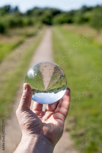 Glass ball display forest , abstract meaning fortune journey