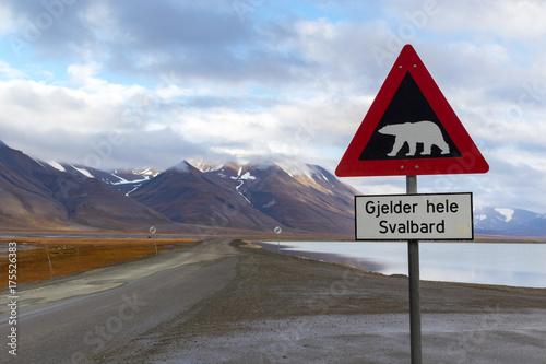 Deurstickers Ijsbeer Polar bear warning sign in Svalbard