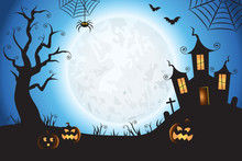 Halloween Spooky Blue Vector Scene Background 1