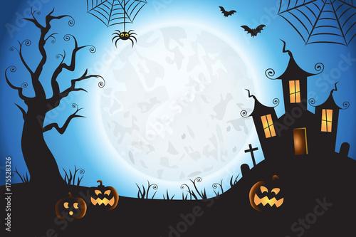 Fotografie, Obraz  Halloween Spooky Blue Vector Scene Background 1