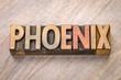Phoenix word abstract in letterpress wood type