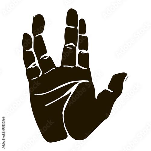 Valokuva Black silhouette realistic salute vulcan hand gesture icon graphic