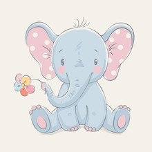 Cute Elephant With A Flower Ca...