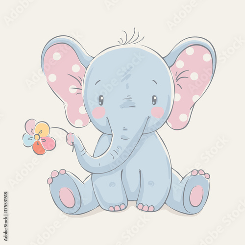 Fototapeta premium Słodki słoń z kwiatem kreskówka ręcznie rysowane ilustracji wektorowych. Może być stosowany do nadruku na koszulce dla dzieci, projektowania modowego nadruku, odzieży dziecięcej, powitania z okazji urodzin baby shower i karty z zaproszeniem.