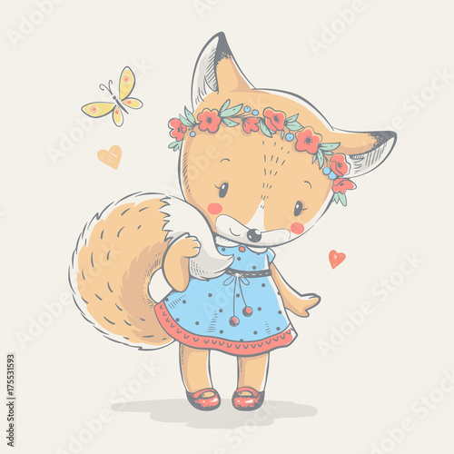 1722c9db3ae6 Cute little red fox in blue dress cartoon hand drawn vector illustration.
