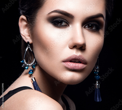 Beauty Fashion Model Girl With Short Hair Brunette Model Portrait