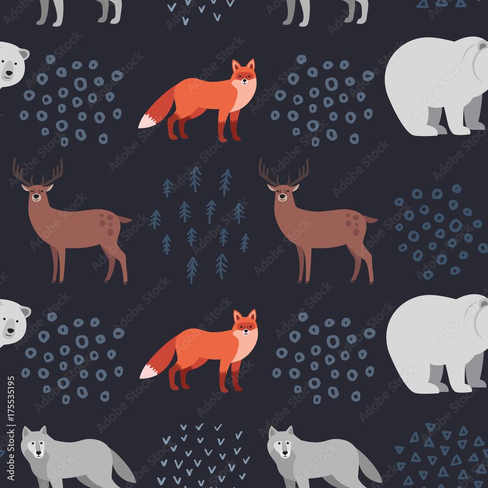 Seamless hand-drawn pattern with forest animals: fox, white bear, deer, wolf on dark background. Scandinavian design style. Vector illustration